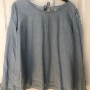 Madewell tie back chambray shirt